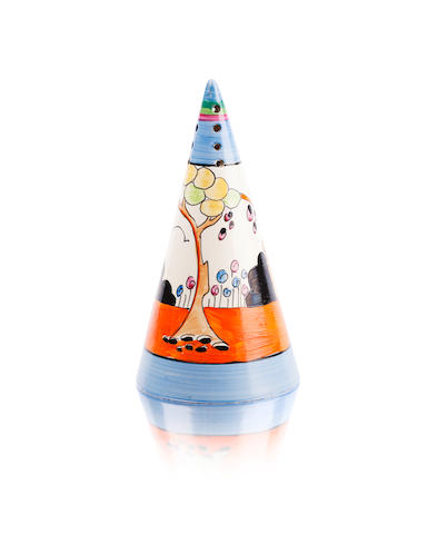A Clarice Cliff conical sugar sifter 'Tulip'