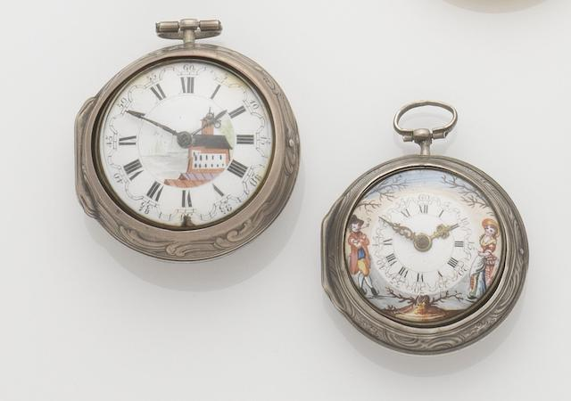 A lot of two silver repousse pair case pocket watches with enamel painted dials