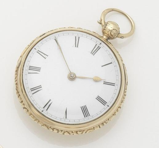 Thomas Blundell. An 18ct gold open face pocket watch Case and movement numbered 2426, Chester hallmark for 1812