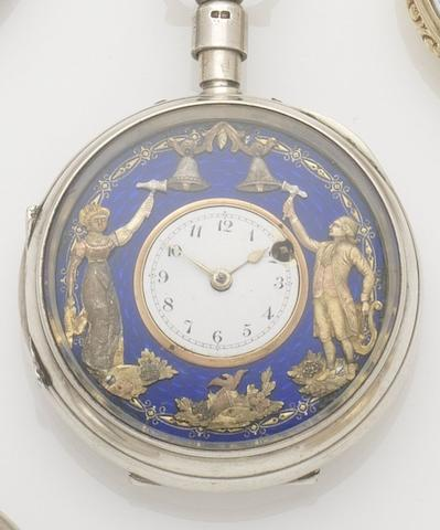 Swiss. A silver open face Jaquemart repeating pocket watch Chester hallmark for 1911