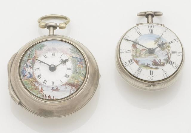 J. Richards. A late 18th century silver pair case pocket watch together with a further silver pair case pocket watchMovement No.24808, London Hallmark for 1769