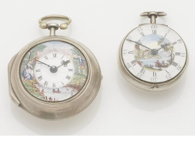 J. Richards. A late 18th century silver pair case pocket watch together with a further silver pair case pocket watch Movement No.24808, London hallmark for 1769