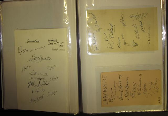 A large collection of 1920's to 1950's individual and County team hand signed items
