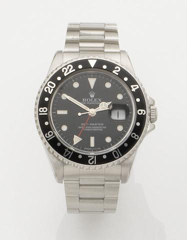 Rolex. A stainless steel automatic calendar bracelet watch GMT Master, Ref:16700, Serial No.T802836, Movement No.7720386, Circa 1997