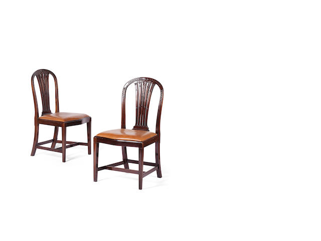 A set of six George III style mahogany dining chairs, first quarter 20th century Bearing label for to Waring and Gillow Ltd