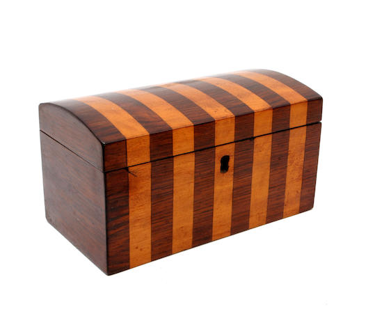 A 19th century rosewood and satinwood banded tea caddy
