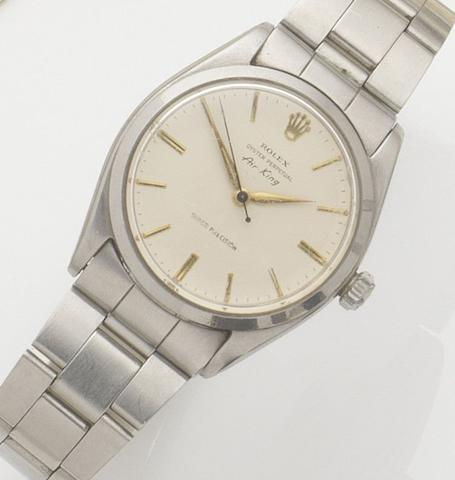 Rolex. A stainless steel automatic bracelet watchAir King, Ref:5500, Case No.571595, Movement No.61128, 1960's