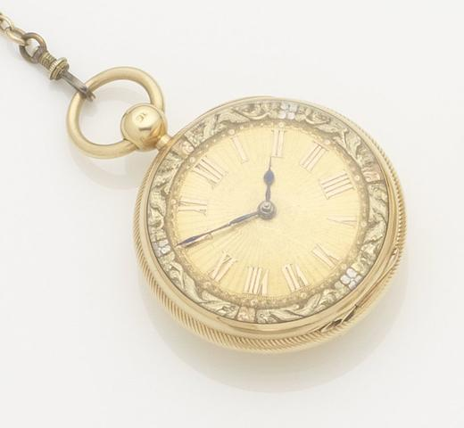 Unsigned. An 18ct gold open face key wind pocket watch Chester hallmark for 1826