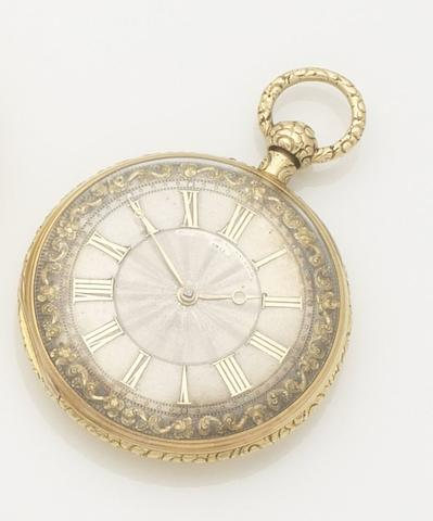 French, London Exchange. An 18ct gold open face key wind quarter repeating pocket watch Movement No.4811, London hallmark for 1830
