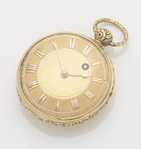 Unsigned. An 18ct gold open face key wind pocket watchMovement No.4009, London Hallmark for 1824