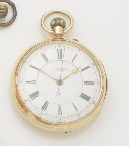 M. J. Russell. An 18ct gold manual wind open face chronometer pocket watchCase and Movement No.9215, Chester Hallmark for 1897