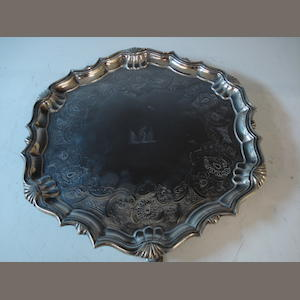 George III silver salver 25oz, later engraved