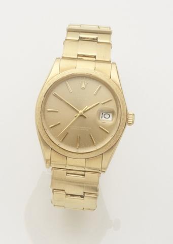 Rolex. An 18ct gold automatic calendar bracelet watch Date, Ref:1514, Case No.3224328, Movement No.D140406, Sold 24th December 1974