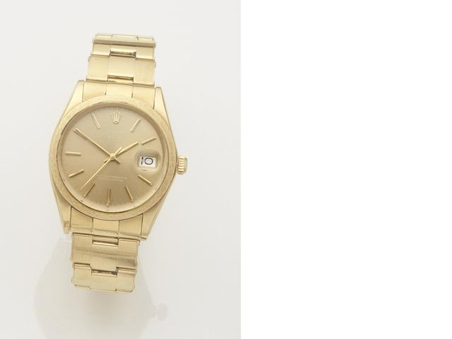 Rolex. An 18ct gold automatic calendar bracelet watch Date, Ref:1514, Case No.3224328, Movement No.D140406, Sold 24th December 1974