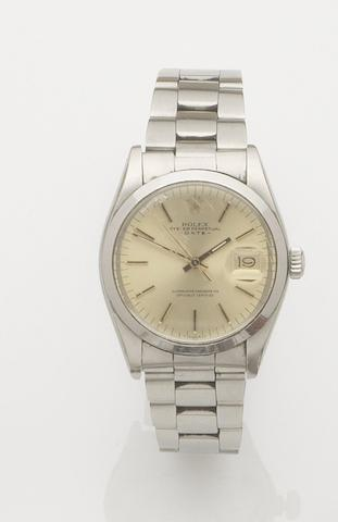 Rolex. A stainless steel automatic calendar bracelet watchDate, Ref:1500, Case No.5409327, Movement No.D727776, 1970's