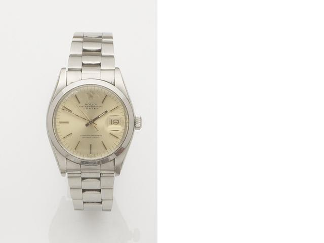 Rolex. A stainless steel automatic calendar bracelet watch Date, Ref:1500, Case No.5409327, Movement No.D727776, 1970's