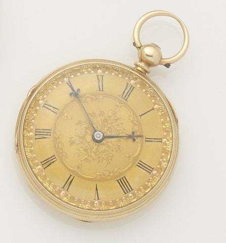 Unsigned. An 18ct gold open face key wind pocket watch  Case and movement numbered 12281, London hallmark for 1861