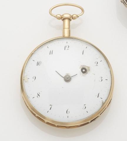 Unsigned. A continental gold open face key wind repeating pocket watchCase No.3497, 1820s