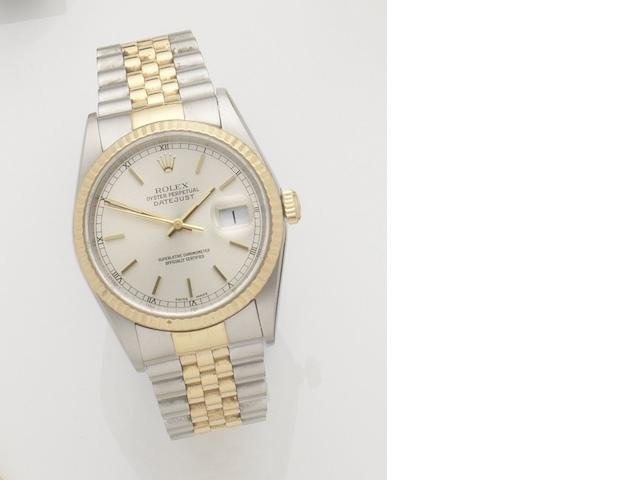 Rolex. A stainless steel and gold automatic calendar bracelet watch Datejust, Ref:19233, Case No.P723607, Movement No.38795199, Circa 2002