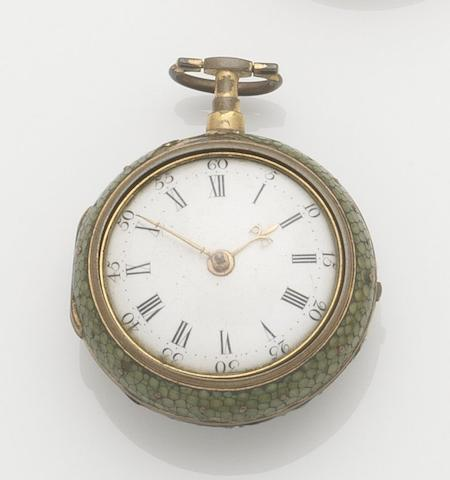 Thomas Ray. An 18th century pair case key wind pocket watch in shagreen caseMovement No.509