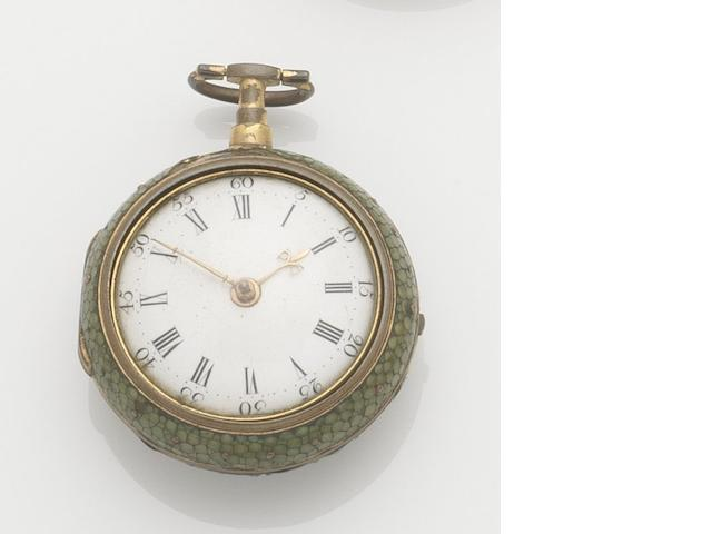 Thomas Ray. An 18th century pair case key wind pocket watch in shagreen case Movement No.509