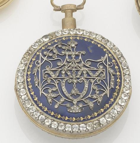 Fres Seigneur. A late 18th century gilt metal, enamel and paste set open face key wind pocket watchCase and movement numbered 6178, Circa 1775