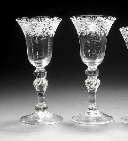 A pair of 'Newcastle'-type light baluster goblets, circa 1740