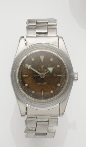 Rolex. A stainless steel automatic bracelet watchSubmariner, Ref:6536/1, Case No.399416, Movement No.N790336, Sold 9th July 1960