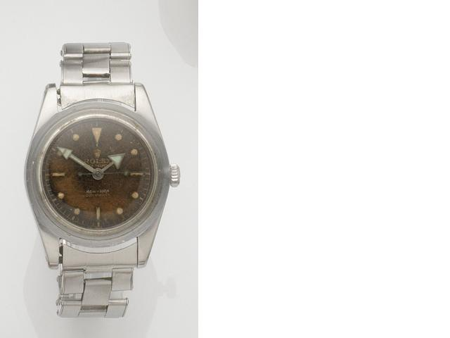 Rolex. A stainless steel automatic bracelet watch Submariner, Ref:6536/1, Case No.399416, Movement No.N790336, Sold 9th July 1960