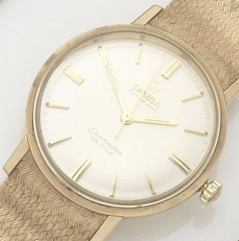 Omega. A 9ct gold automatic bracelet watchSeamaster De Ville, Movement No.22613556, Sold 23rd April 1970