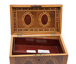 A Regency mahogany and inlaid tea caddy