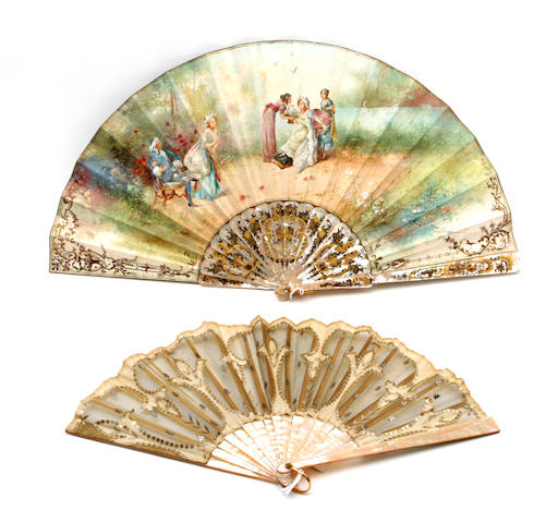 A 19th century mother of pearl mounted fan
