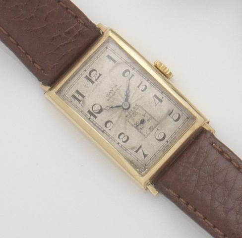 Rolex. An 18ct gold manual wind wristwatch Ref:757, Case No.43970, Glasgow hallmark for 1927, retailed by Jay's of Brighton