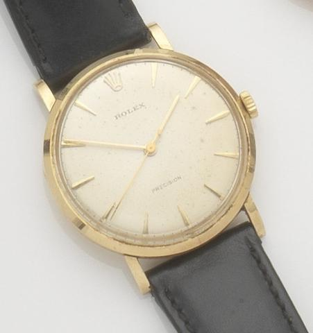 Rolex. An 18ct gold manual wind centre seconds wristwatchPrecision, Ref:9659, Case No.579163, Movement No.N80128, 1960's