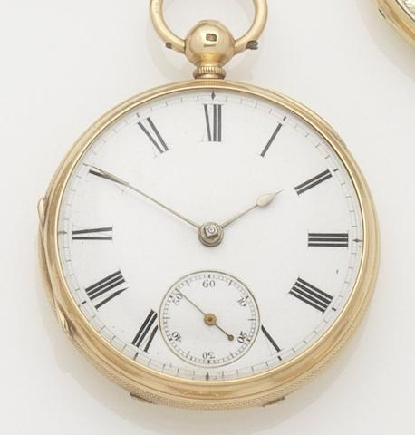 Unsigned. An 18ct gold open face key wind pocket watchCase and movement No.80353, Chester Hallmark for 1872