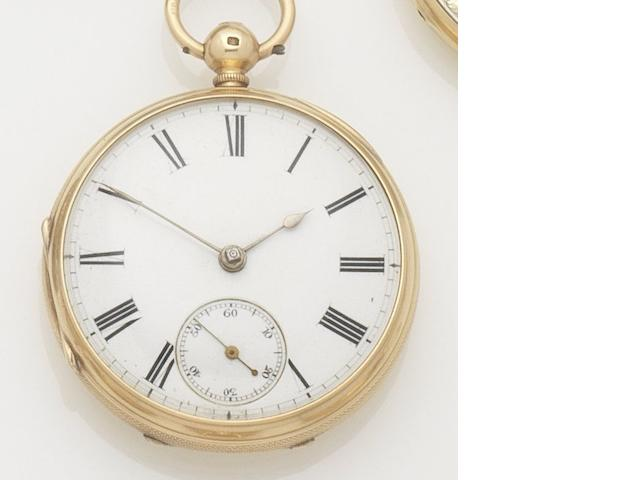 Unsigned. An 18ct gold open face key wind pocket watch Case and movement No.80353, Chester hallmark for 1872