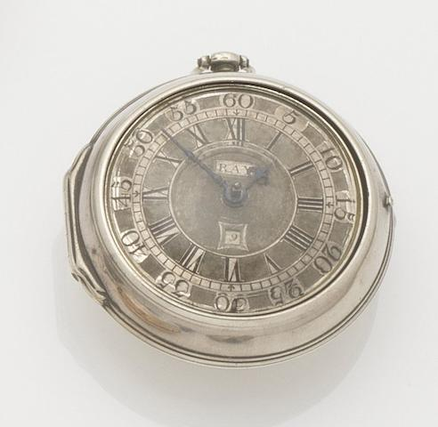Daniel Ray. A silver pair case key wind pocket watchCirca 1720
