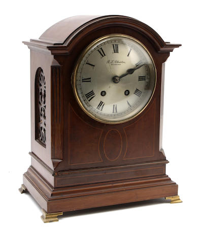 An Edwardian mahogany cased mantel clock R. L Christie, Edinburgh