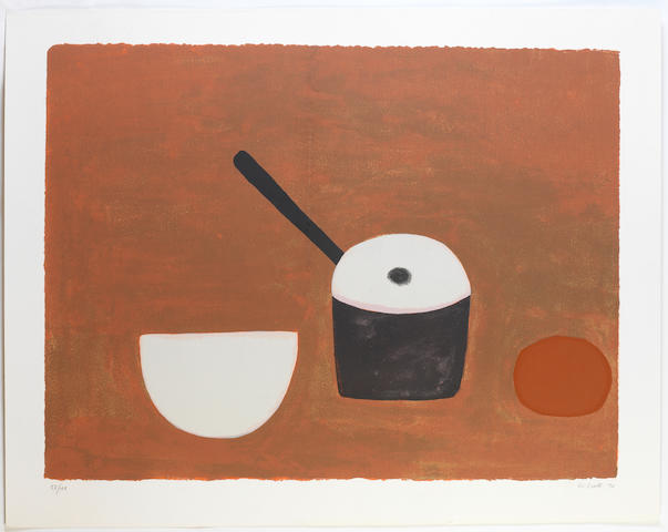 William Scott R.A. (British, 1913-1989) White bowl, black pan, on brown Screenprint in colours, 1970, signed, dated and numbered 53/100 in pencil, with full margins, 590 x 780mm (23 1/4 x 30 3/4in)(I) unframed