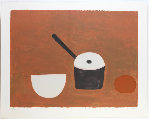 William Scott (British, 1913-1989) White bowl, black pan, on brown  Screenprint printed in colours, 1970, signed, dated and numbered 53/100 in pencil, with full margins, 590 x 780mm (23 1/4 x 30 3/4in)(I) unframed