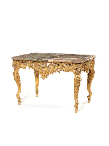 A French late 19th century giltwood table  after the Versailles model entitled des chasses