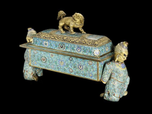 A magnificent and extremely rare monumental gilt-bronze and cloisonné-enamelled incense burner and cover Beijing Palace Workshops, Qianlong