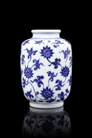 An extremely rare blue and white 'lotus' vase  Yongzheng six-character mark and of the period