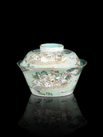 A fine and rare famille rose 'riverscape' bowl and cover Jiaqing six-character seal marks and of the period