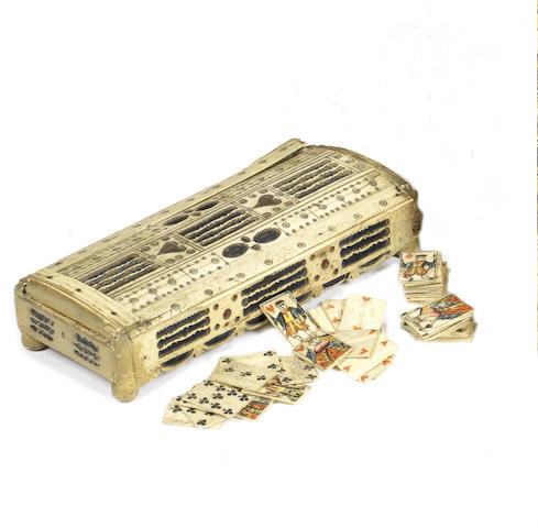 A Napoleonic Prisoner-of-War bone mounted playing card box, circa 1800,