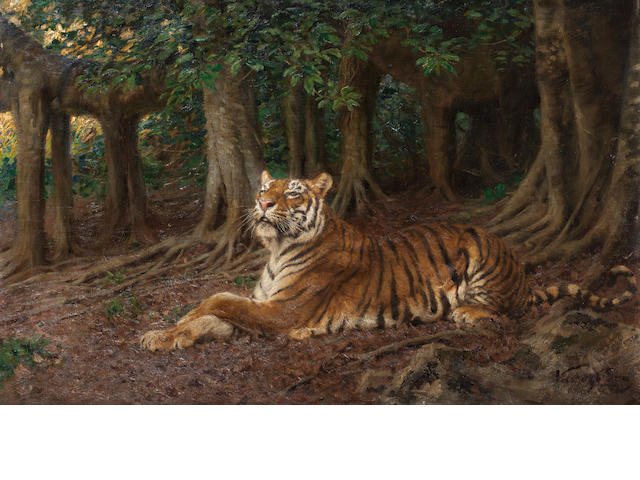 Geza Vastagh (Hungarian, 1866-1919) Reclining tiger