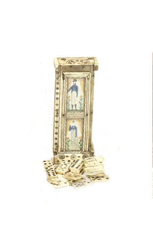 A Napoleonic prisoner-of-War bone domino box, circa 1805,