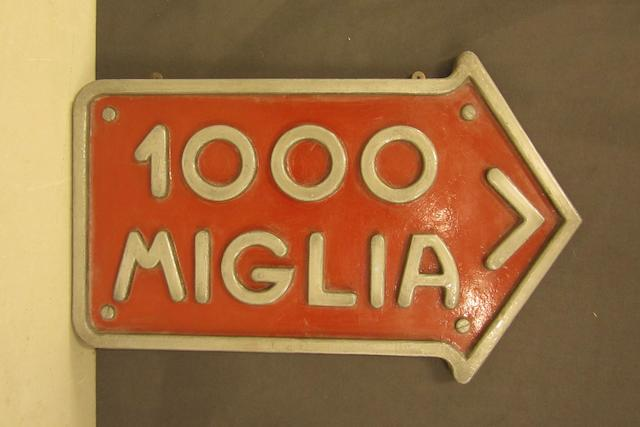 A Mille Miglia sign,