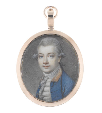 Richard Cosway R.A. (British, 1742-1821) A Gentleman, wearing blue coat with gold collar, white waistcoat, stock and lace cravat, his powdered wig worn en queue and tied with a black ribbon bow