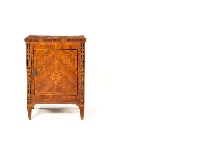 A 19th Century Continental Fruitwood and Marquetry inlaid Cabinet